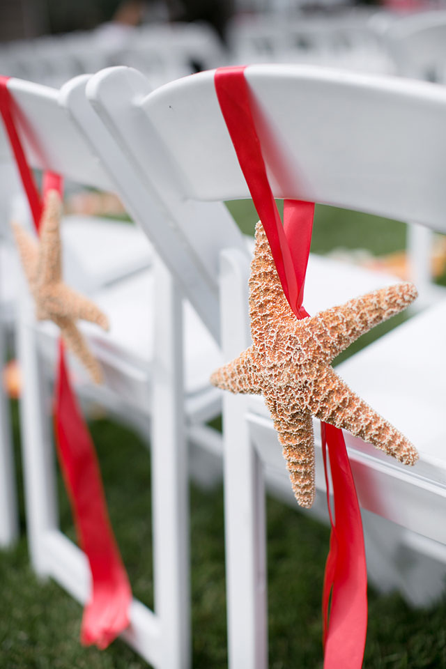 Wedding ceremony chair and starfish decorations