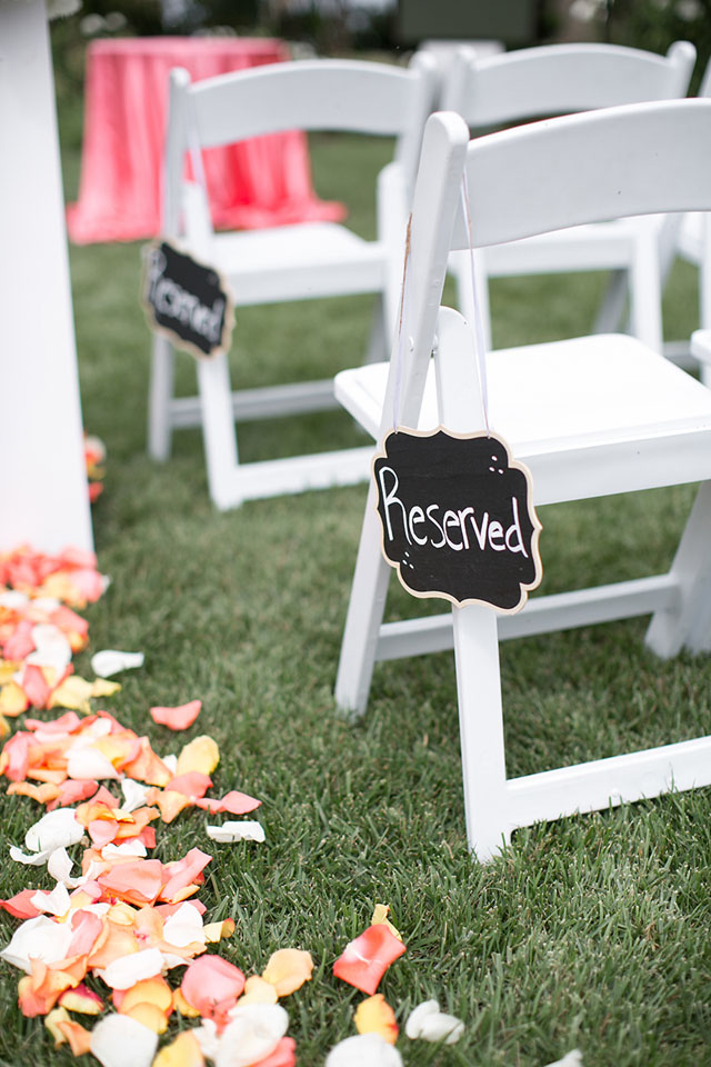 Chair reserved for bridal party